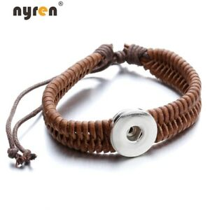 Multi Color Leather Snap Charms Bracelet Fit 18mm Snaps 20mm Snap Jewelry 07065