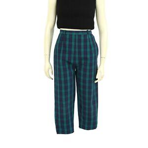 Vintage 50s 60s Cotton Blue + Black Plaid Print High Waist Slim Cropped Pants S