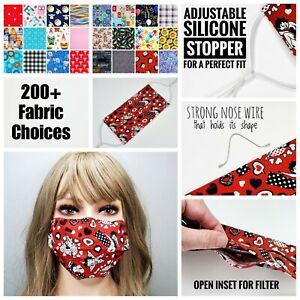 ADULT Best Face Mask Great Fit filter pocket, nose wire, adjustable elastic #2
