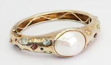Unique large hammered pearl and gemstones sterling silver modern bracelet