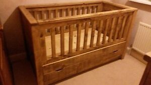 SOLID WOOD RUSTIC WOODEN COT-BED DAY-BED WITH DRAWER MADE TO MEASURE