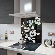 Black Floral - White Flower Glass Splashback - 90cm Wide x 75cm High