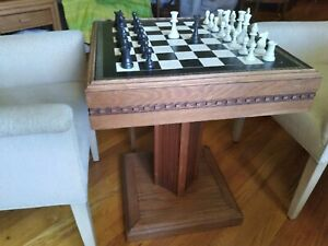 """Hardwood Chess Gaming 22.5"""" Table With Staunton Heavy Tournament Triple Weighted"""