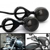 2x Motorcycle 41mm Black Front Turn Signal LED Lights Indicator For Harley Honda