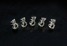 (5pcs) silver 3D cat diamond rhinestone nail art charms for nails, acrylic, gel