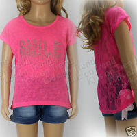 Girls Lace Top T Shirt Smile Top Neon Colours Summer Top Kids 3-12 Years New