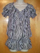 NWT womens ladies size S black white zebra s/s MILEY CYRUS peasant shirt tunic