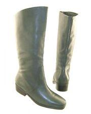 New MARKON Women Green Leather Knee High Riding Pull On Flat Boot Shoe Sz 7.5 M