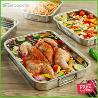 QUALITY ROASTING TINS STAINLESS STEEL TRAYS OVEN PAN DISH BAKING ROASTER GRILL