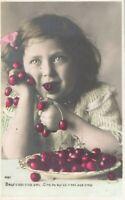 1907 Girl Eating Bowl of Cherries Beautiful Eyes Postcard Hand Colored RPPC