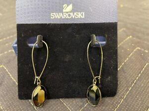 AUTH Swarovski Puzzle Jet Hematite Pierced Earrings 1148206 New
