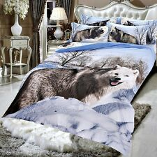 Double Size White Fox Wolf 3d duvet bedding set LIMITED EDITION look xmas ,