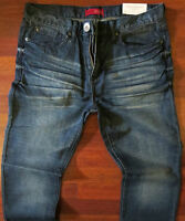 Guess Slim Straight Leg Jeans Men's Size 40 X 30 Distressed Dark Medium Wash NEW