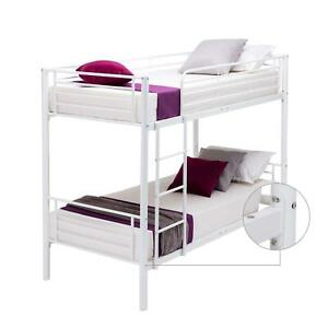 Metal Twin over Twin Bunk Beds Frame Ladder for Kids Adult Children Home White