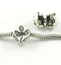1pcs Silver Tree European Charm Crystal Spacer Beads Fit Necklace Bracelet NEW ~