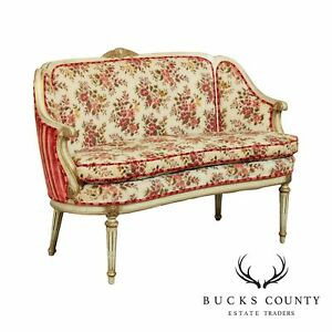 French Louis XVI Style Vintage Painted Loveseat Settee