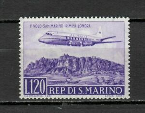 S33584 San Marino 1959 MNH 1 Flight Rimini London Mail Aerea 1v