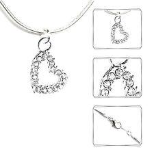 Halskette HERZ Damenkette Strass Hochzeit Schmuck Mode silberfarben Neu 45 cm