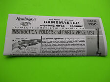 1968 Remington Model 760 Rifle Instruction Folder &  Parts Price List, tri fold
