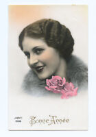 1930s Deco Glamour Young FRENCH BEAUTY Lady hand tinted photo postcard