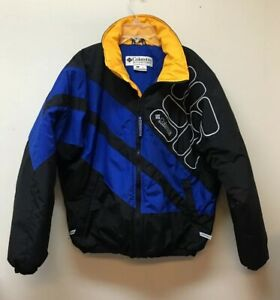Columbia Sport Vintage Big Logo Puffer Bomber Jacket Men's M Coat Color Block