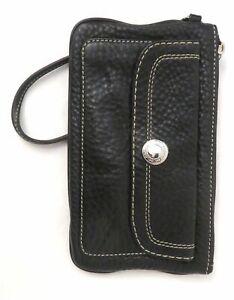 Coach Black Pebble Leather Wristlet Purse