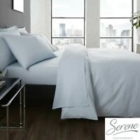 Serene Easy Care Bedding Set Duvet Cover, Fitted & Flat Sheets in Duck Egg Blue