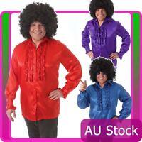 Mens 60s 70s Groovy Hippie Hippy Costume Shirt Afro Wig 60's 70's Fancy Dress