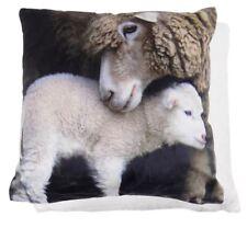 "Sherpa Christmas Ewe Sheep Lamb Velvet Fleece Brown White Soft Cushion Cover 20"""