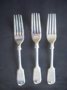 3 ANTIQUE SILVER PLATED FIDDLEBACK PATTERN DESSERT FORKS ~WILLIAM PAGE & CO.