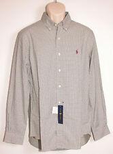 Ralph Lauren Mens Oxford Shirt M Medium Plaid Long Sleeve Cream Teal Brown New