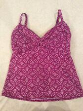 Lands End 8 Tankini Swimsuit Top Purple Underwire Print