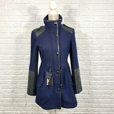 Sam Edelman Navy Blue Wool Coat Black Faux Leather Accents Size Small
