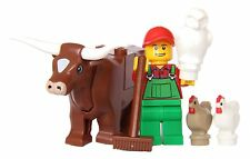 LEGO® City Farm Lot #8 - Brown Cow, Farmer, Owl & 2 Chickens