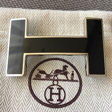 Auth Hermès belt buckle Black 32mm H Quizz Enamel Polished No Strap Herme