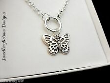 Beautiful Butterfly Fob Style Pendant Necklace 56cm