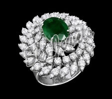 14k Whitegold 12.340gm Anniversary Ring 3.17ct Round Diamond & Real Emerald