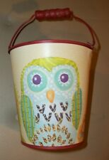 """New--5"""" Decorative metal bucket w/handle, red finish, owl/floral/leaf pattern *"""