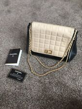 Chanel Accordion Chocolate Bar Flap Bag Patent Leather Beige Lambskin Chain