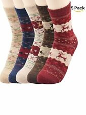 5Pack Womens Super Thick Merino Ragg Knit Warm Wool Crew Mid-Calf Winter Socks