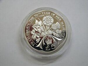 Alderney 5 Pfund 1996 PP/ Proof Piedfort  70. Geburtstag Queen Silber  500 Aufl.