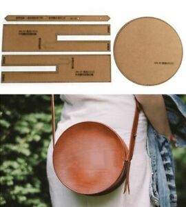 DIY Round Shoulder Crossbody Bag Leather Craft Sewing Pattern Stencil Template