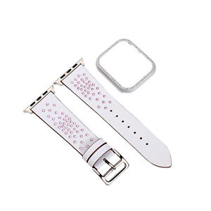 44/40/42/38mm Bling Stars Leather Strap For Apple Watch Band Series 6 5 4 3 Case