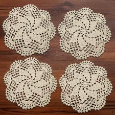 4Pcs/Lot Round Vintage Hand Crochet Cotton Lace Doilies Table Mats Wedding 20cm