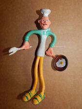 Vintage 1960s Chef with Egg Skillet Bendable Rubber Figure CD NB Hong Kong-RARE!