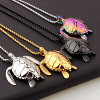 Charm Rainbow/Gold/Silver/Black 3D Sea Turtle Pendant Stainless Steel Necklace