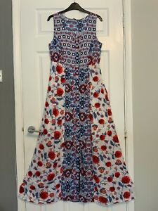 Sleeveless Scoop Neck Maxi Dress Size 10 Red / Blue / White Floral TU