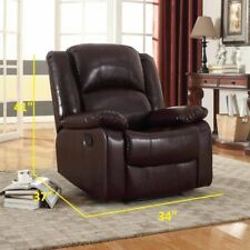 Leather Seat Lounge Sofa Recliner Rocker Home Theater Living Room Deluxe Brown