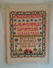 VINTAGE CROSS STITCH SAMPLER ALPHABET NUMBERS & FARMHOUSE NO PLACE LIKE HOME