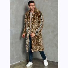 Winter Men's Faux Mink Fur Lapel Collar Leopard Print Outwear Coat Parkas Trench